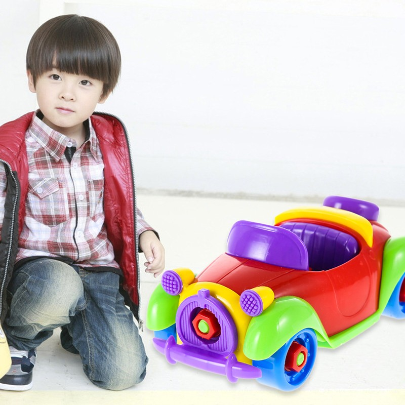 diy plastic small car cartoon toys cute cars kids christmas gift car model kids playing safety toy for gift in diecasts toy vehicles from toys hobbies