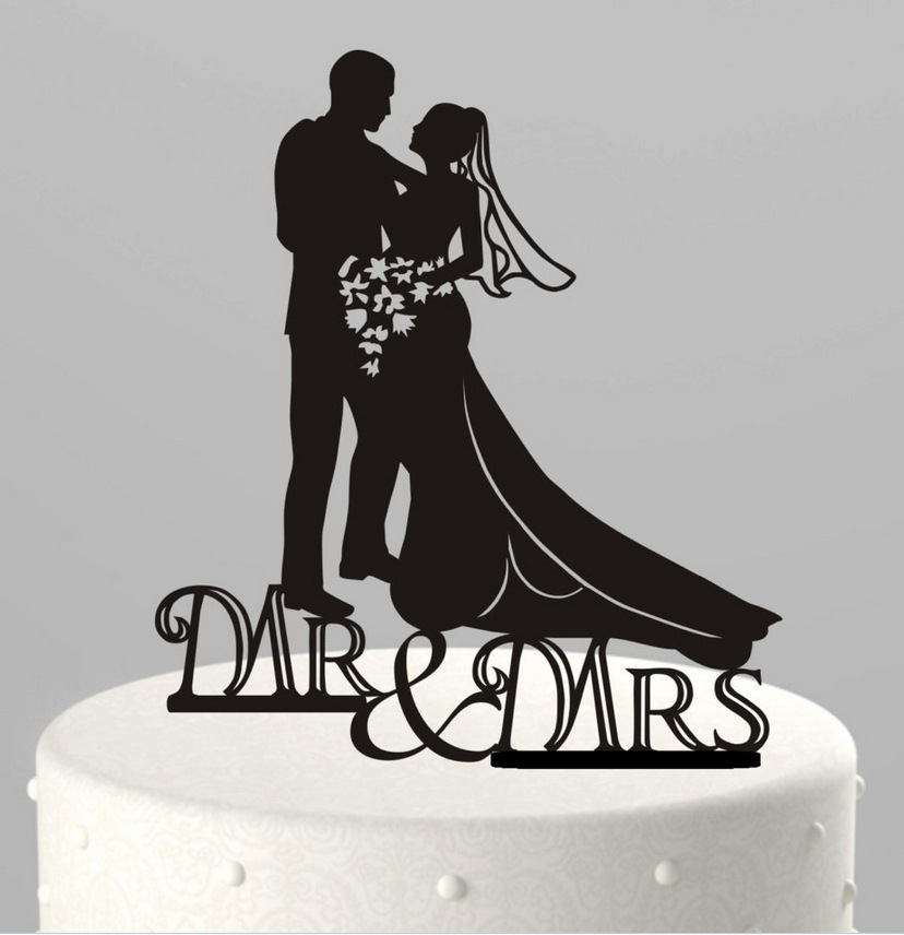 8739fcaa337561 Mr & Mrs Cake Topper Acrylic Silhouette Wedding Cake Topper wedding  decorations 10pcs wholesale free shipping-in Cake Decorating Supplies from  Home & Garden ...