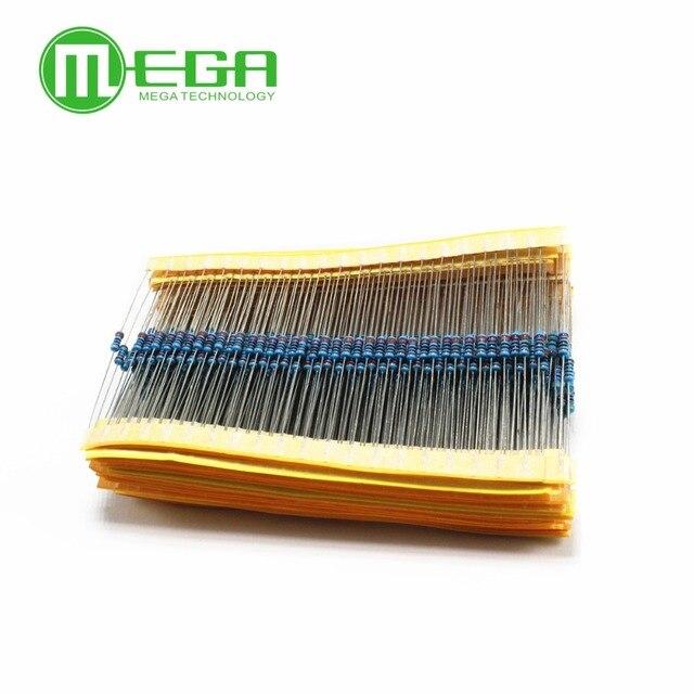 600 pièces/ensemble 30 types 1/4W résistance 1% Film de carbone résistance Pack assortiment Kit 1K 10K 100K 220ohm 1M résistances