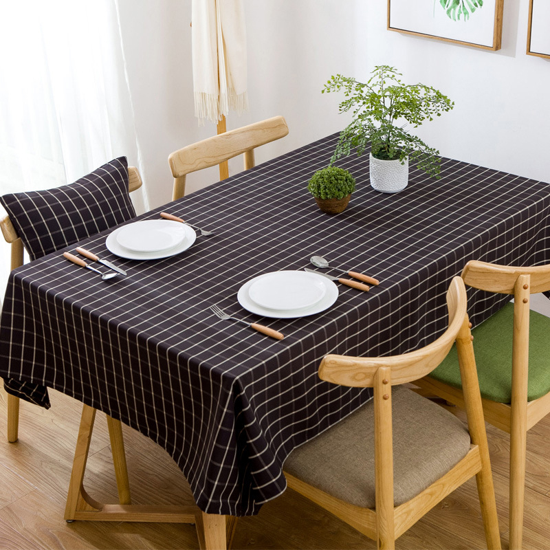 Waterproof Plaid Tablecloth Modern Rectangle Table Cover Mat Easy Clean Table Cloth Decorative Table Cloths