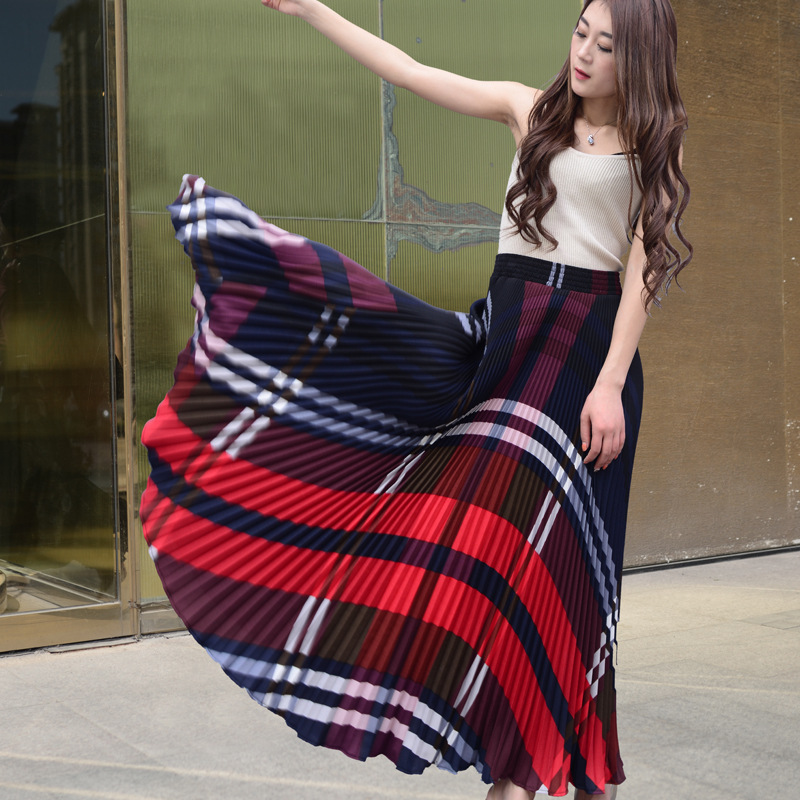 New Fashion Women Long Pleated Skirts For Casual Winter High Waist Boho Maxi Vintage Ladies Ankle Length Office Womens