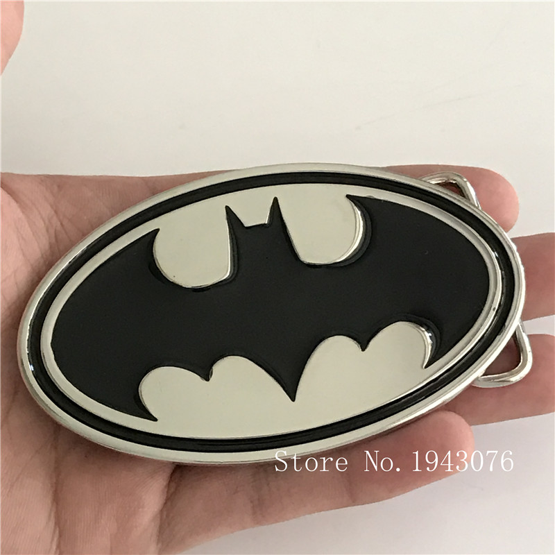 Retail New Style Film Batman Superman Belt Buckle With 102*61mm Oval Silver Black Metal Fashion Man Woman Jeans Accessories
