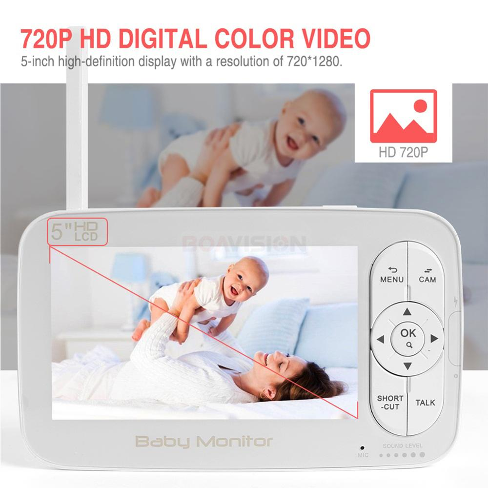 Image 2 - HD 720P Wireless Baby Monitor PTZ 360 Degree 5 Inch LCD Zoomable Baby Camera Night Vision Babysitter Nanny Video Security Camera-in Baby Monitors from Security & Protection