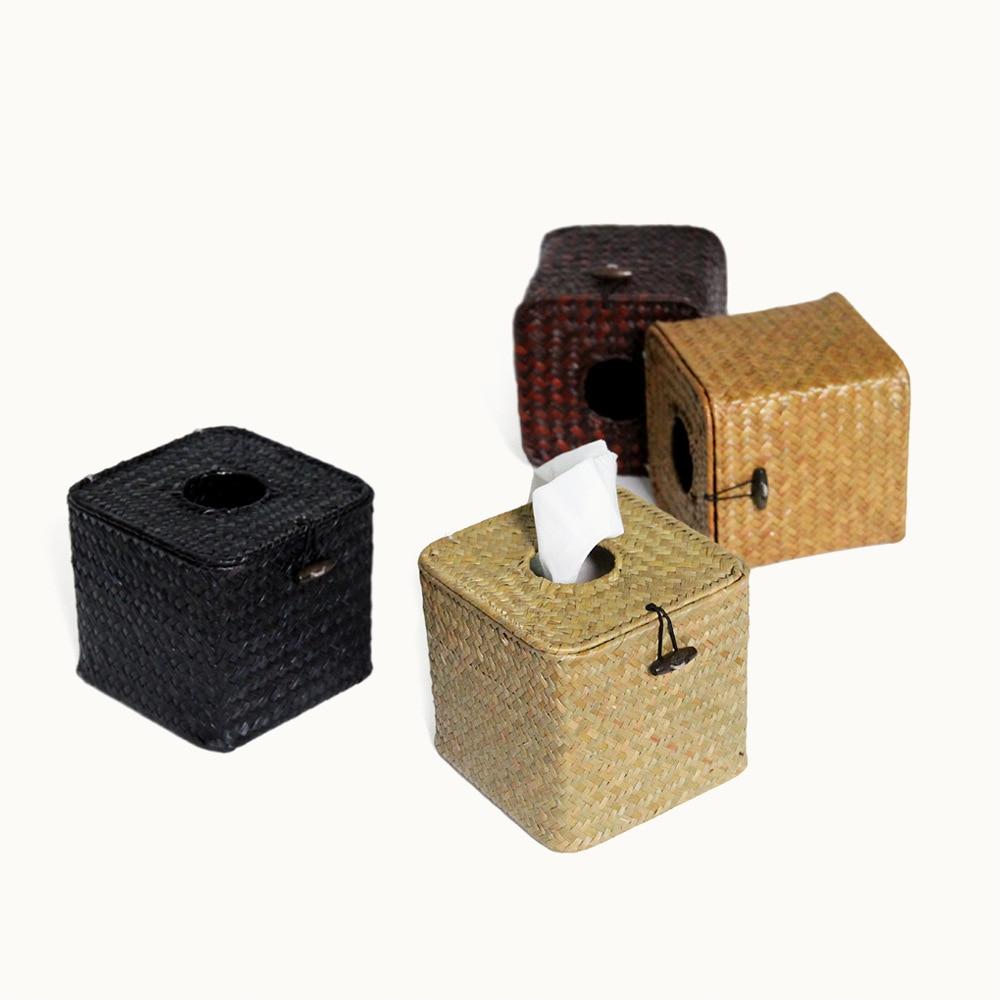 Newcomdigi Creative Grass Tissue Box Cover Handmade Straw Paper Towel Tissue Box Weaving Napkin Holder for Home Rattan Storage