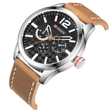 CURREN Black Silver Quartz Mens Wrist Watch Military Sport Design Brown Leather Belt Unique Lattice Waterproof Male Clock