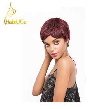 HairUGo Hair Peruvian Straight Virgin Human Hair Straight #99JColor Short Human Hair For Black Women Wigs Free Shipping H.HONEY