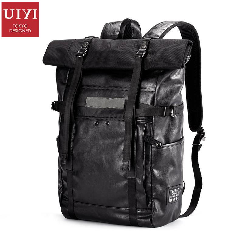 uiyi backpack men polyester microfiber pu leather patchwork backpacks for teenagers school rucksack school bags travel 160014 UIYI Brand Design Women Men Vintage PU Leather Black Laptop School Male Korea Backpack Military Rucksack For Teenagers 160166