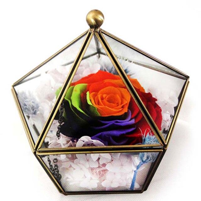 Стекло Цветочные горшки плантаторов украшения дома геометрический стеклянные вазы коробке Свадебный декор горшки ручной работы