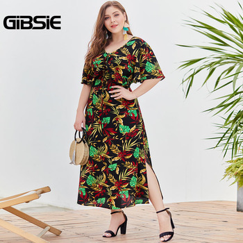 GIBSIE Boho Tropical Print Summer Holiday Dress Bohemian Women Plus Size Beach Casual V-Neck Short Sleeve Split Long Dress