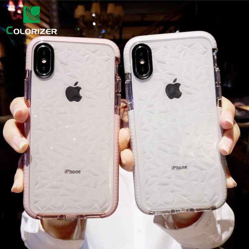 Luxury Diamond Texture Phone Case For iPhone X XR XS Max Soft TPU Transparent Case Shockproof Clear Cover For iPhone 7 8 6s Plus iPhone