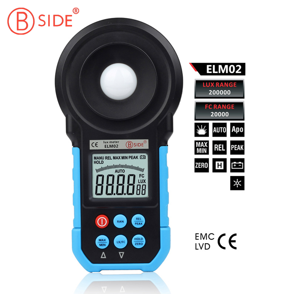 ELM02 Auto Range Digital LCD Luxmeter Lux / FC Meter Light Illuminance Meter Tester 20~200000Lux professional led light meter 0 1lux 200000lux 0 01fc 20000fc lcd led light digital lux meter filter lense rotate probe luxmeter