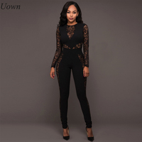 Slim Womens Hollow Out Jumpsuit Sexy Mesh Elegant New Style Solid Playsuit Full Sleeve Black Bodycon
