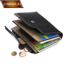 JINBAOLAI Wallet Designer Short Leather Famous Brand Men Wallet Bifold Wallet Men's Card Holder with Zipper Coin Pocket Purse