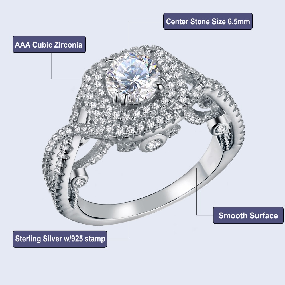 Weding Ring Set Genuine Sterling Silver 925 Jewelry Center Stone 5 mm Size 7
