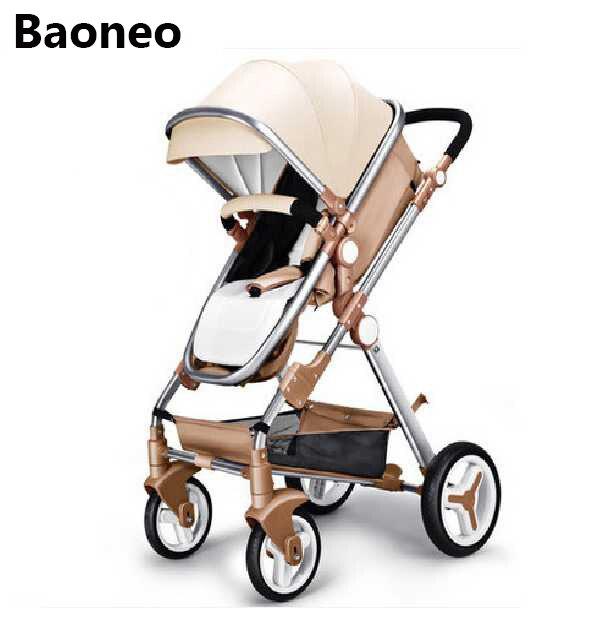 Baoneo Bébé poussette haute paysage bidirectionnel luxueux en cuir haute paysage étanche anti-huile ultraviolet haute châssis