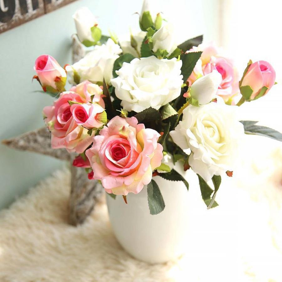 e23cdeae971 DIY 3 Cabeças bouquet Rosa Vermelha Flores Artificiais Real Toque de Flor  De Seda Para O Projeto De Casamento Do Partido Do Dia Dos Namorados  Decoração de ...