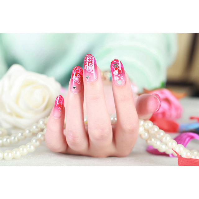 Newest 24PCS 3D Cherry Blossoms Nail Strips Diamond Sticker Bride Patch Bright Shining