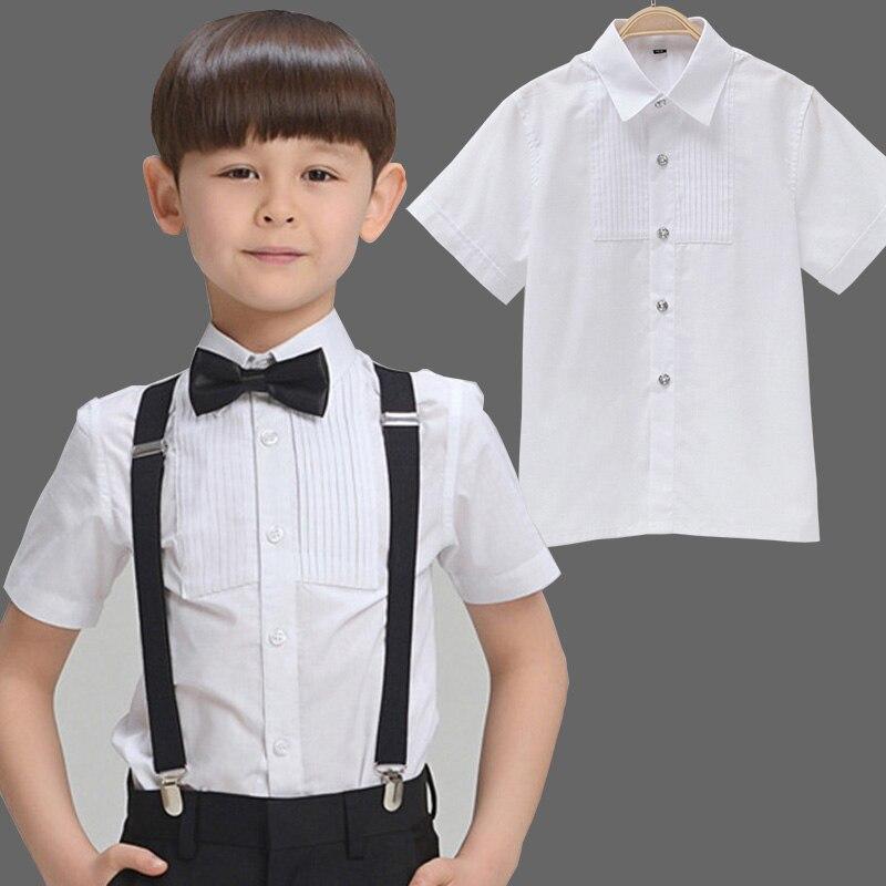 Unisex Boys Shirts Cotton Short White Solid Girls School Blouses Kids Shorts Children Blouse Baby Cloth Turn-downcollar Formal