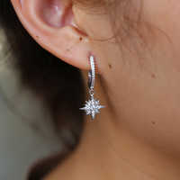Korean style fresh and simple temperament CZ star North star charm earrings female jewelry gift wholesale