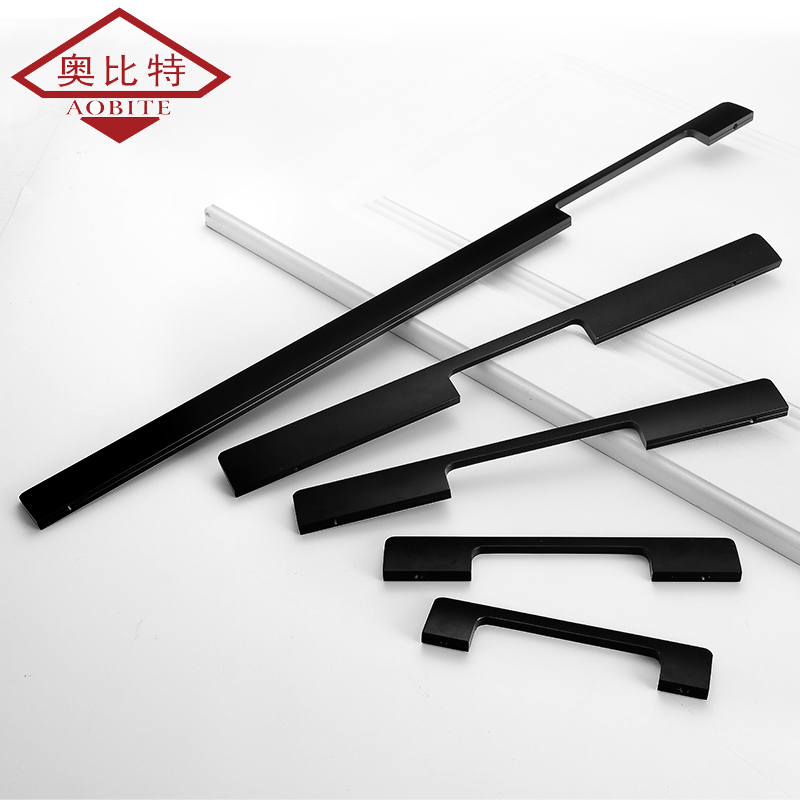 Super Long Black Handle Modern Minimalist 1000mm Wardrobe Cabinet Door Kitchen Cabinet Nordic Knob Drawer Wine Cabinet Hardware