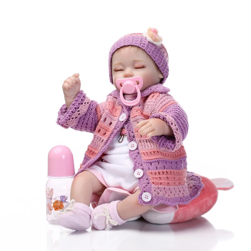 18 inch 45cm  baby reborn  Silicone dolls, lifelike doll reborn babies toys for girl princess gift brinquedos  Children's toys 18 inch soft american girl dolls princess doll 45 cm lovely lifelike baby toys for children present