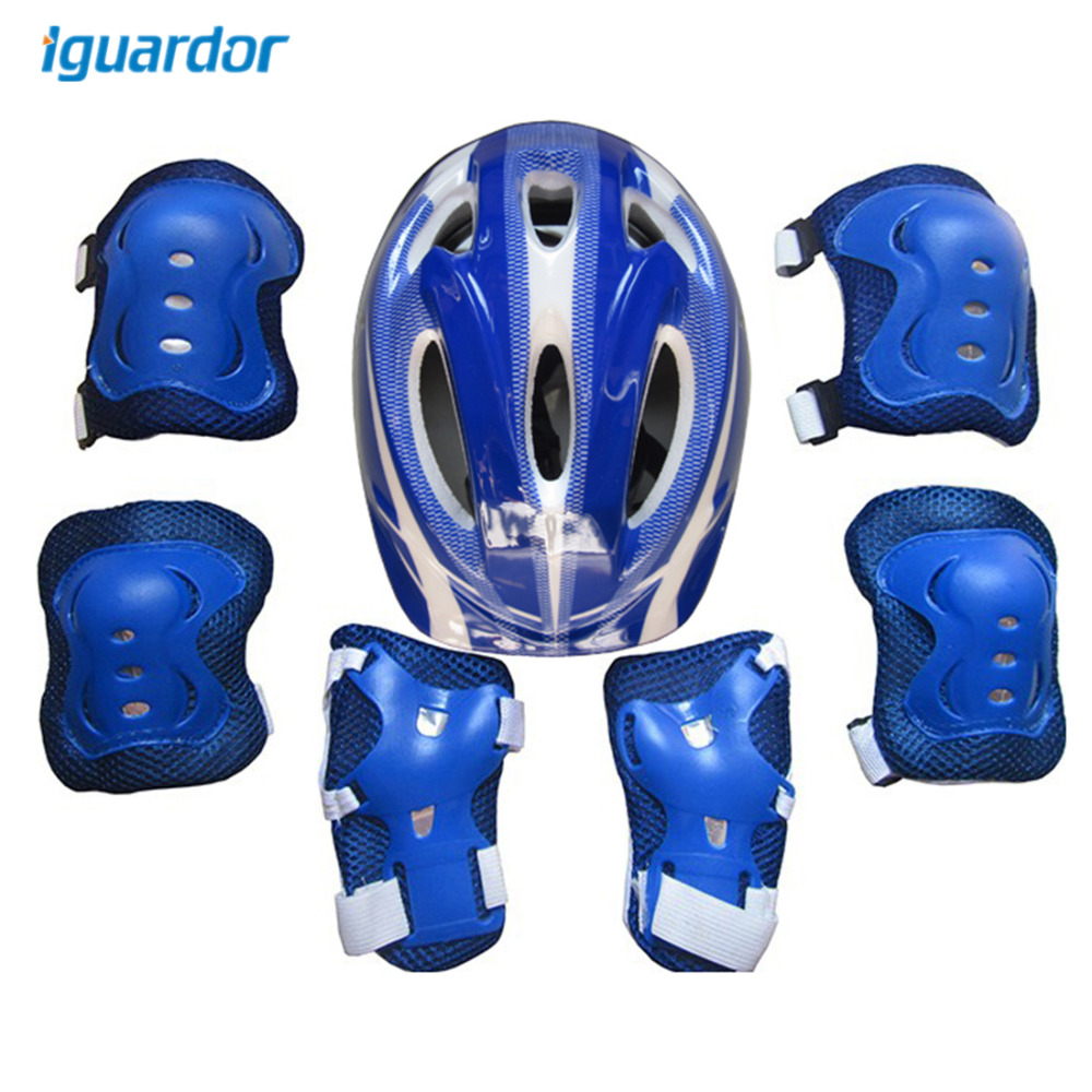 iguardor 7Pcs Ice Skating Protective Gear Bicycle Kid Helmet Child Sports Safety Scooter Cycling Set for 5-13 Year-old