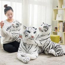 Peluche tigre et léopard réaliste pour enfants, 30-120 cm, animaux en peluche doux, poupée Jaguar blanche, cadeaux d'anniversaire pour enfants
