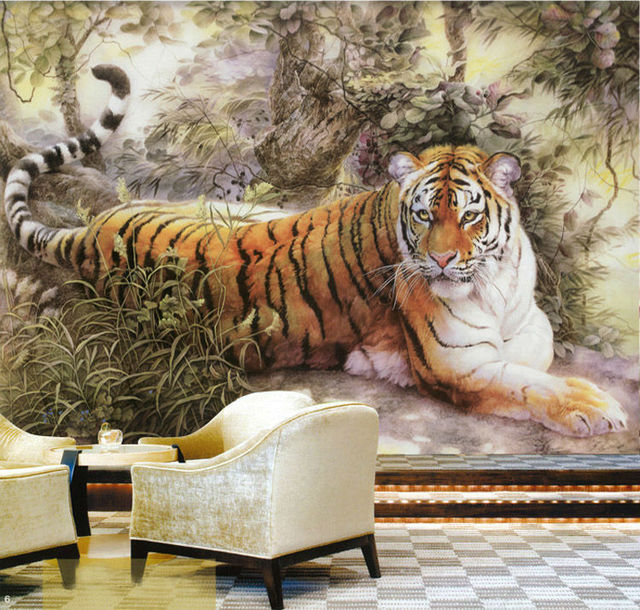 Buy chinese painting wall mural tiger for Animal mural wallpaper