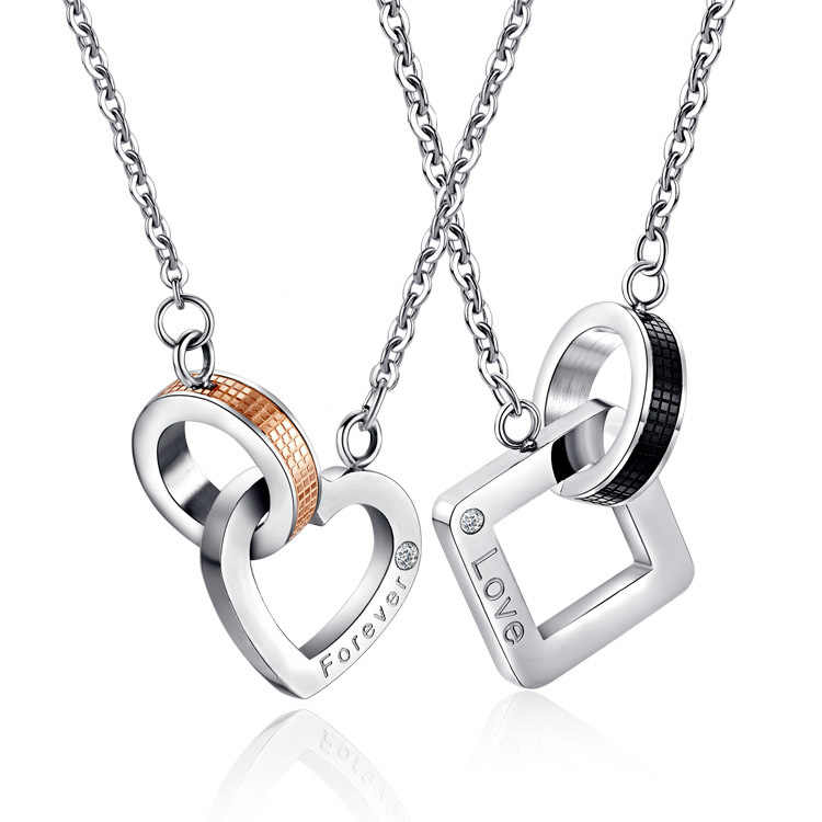 New Stainless Steel Chain Heart Square Shape Pendant Lovers Couple Necklace Men Women Gift