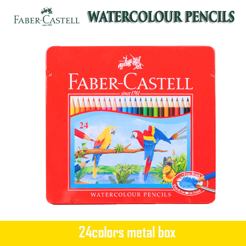 цена на Faber Castell Watercolour Pencil Parrot 24 Tin Set Water Soluble Pencils Professionals Artist Painting For Drawing Sketch