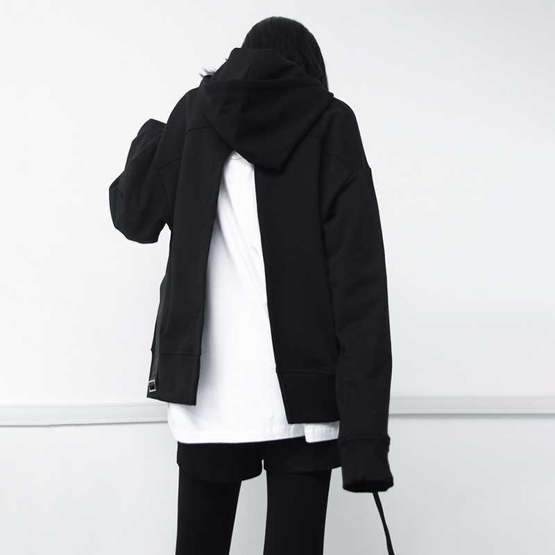 GALCAUR عارضة مقنعين الإناث البلوز طويلة الأكمام عودة سبليت الدانتيل يصل النساء السود السترة 2019 الخريف الأزياء الكورية جديد