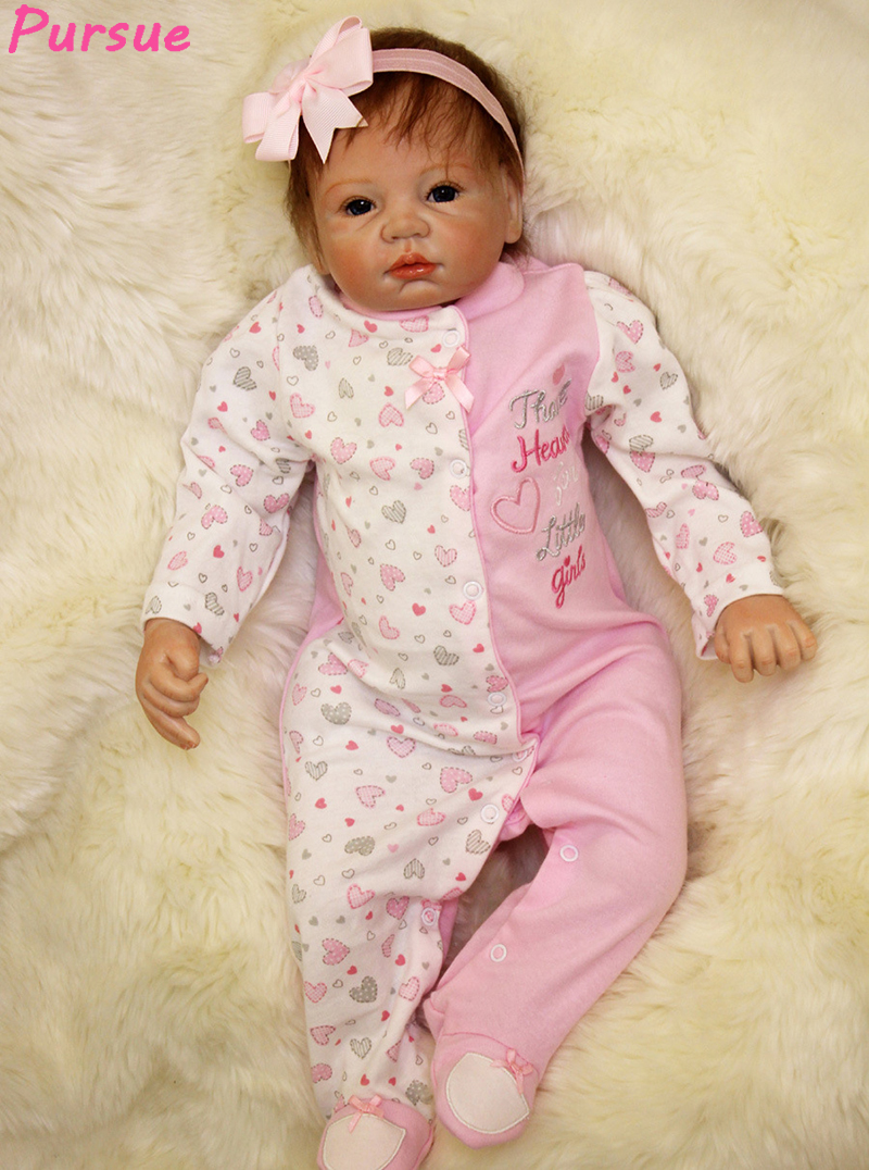 Pursue Baby Handmade Asian Reborn Baby Doll with Magnetic Mouth Chinese Girl Lifelike Newborn Baby Doll Weighted for Cuddle Fun pink wool coat doll clothes with belt for 18 american girl doll