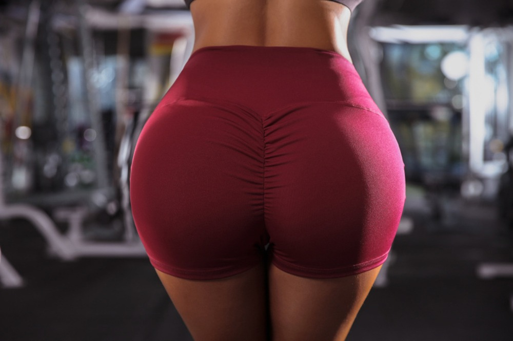 2019 New Women High Waist Back Ruched Hip Lifting   Shorts   Workout Stretch Gym Bottoms
