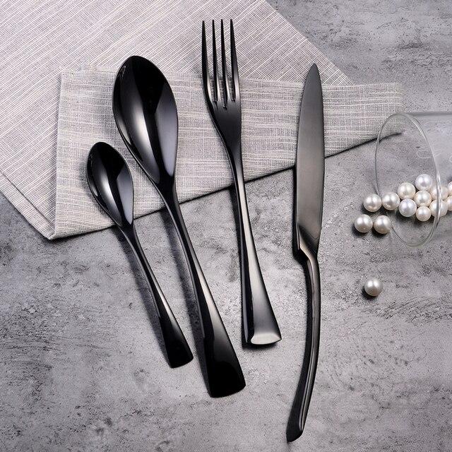 304 Stainless Steel Bling Black Tableware Set Black Forks Knife Luxury Kitchen Cutleries Western European Food & 304 Stainless Steel Bling Black Tableware Set Black Forks Knife ...