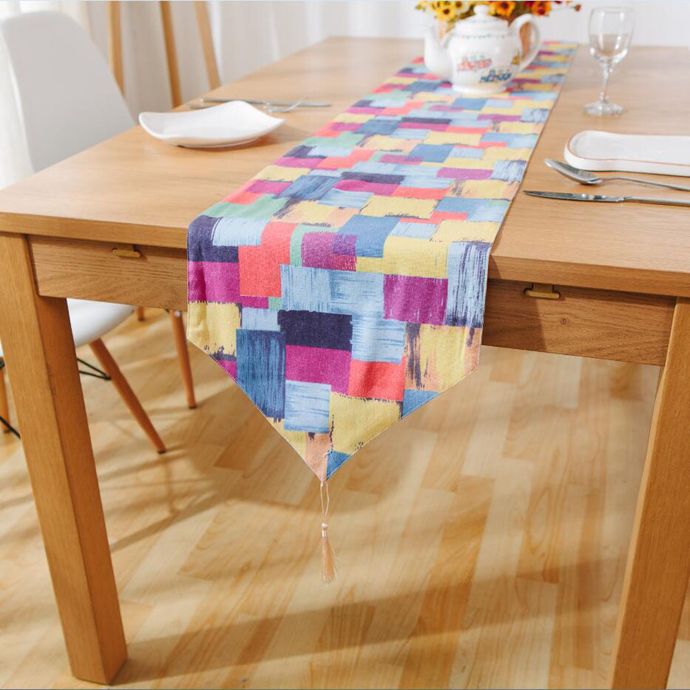 hot sale colorful box linen table runners with tassel modern graffiti printed rectangle table. Black Bedroom Furniture Sets. Home Design Ideas