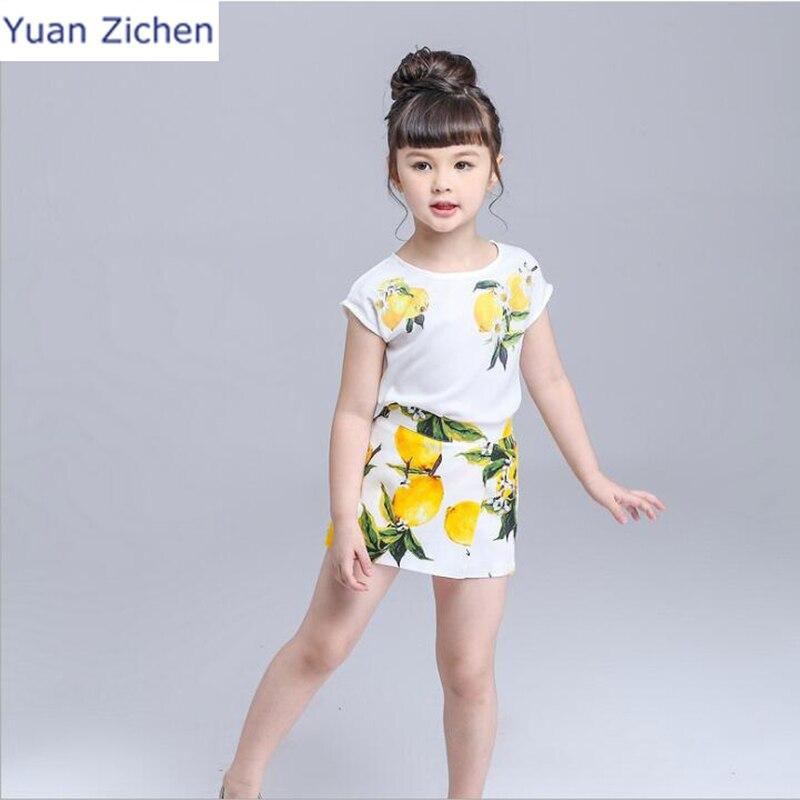 Summer Children Clothing Set Short-Sleeved Summer Cute Girls  2Pcs T-Shirt Short Pants Toddler Girls Summer Kids Girls Clothes