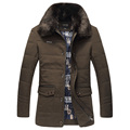 Fashion Men Winter Jackets Casual Thick Down Cotton Padded Coats Warm Outerwear Long Parka Coat Black Fur Collar Plus Size 6XL
