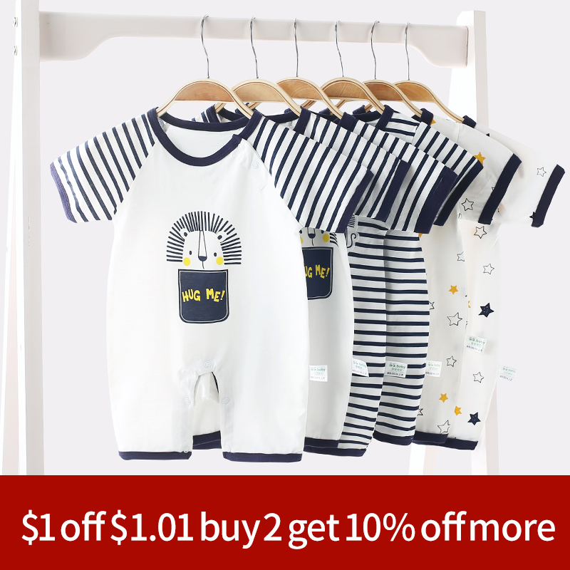 3pcs/lot Striped Summer Thin Short Sleeved Baby Jumpsuit Clothes Baby   Rompers   Newborn Baby Boys   Romper   Toddler Girl Jumpsuits