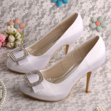 Wedopus MW427 Женщины Высокий Каблук Закрытый Мыс Свадебные Туфли Свадебные туфли На Каблуках с Прелестями