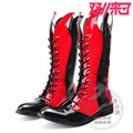 Play 2015 New Arrival Fashion Individuality Korean Funky Biker Boots Low Heeled Patent Leather Mixed Color Pointy Punk Men Shoes