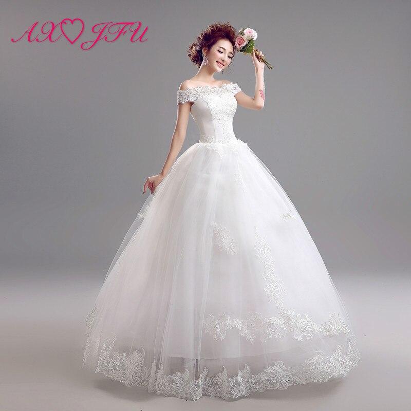 AXJFU flower lace princess boat neck wedding dress shoulder Princess Bride bride bow wedding dress 5956 S