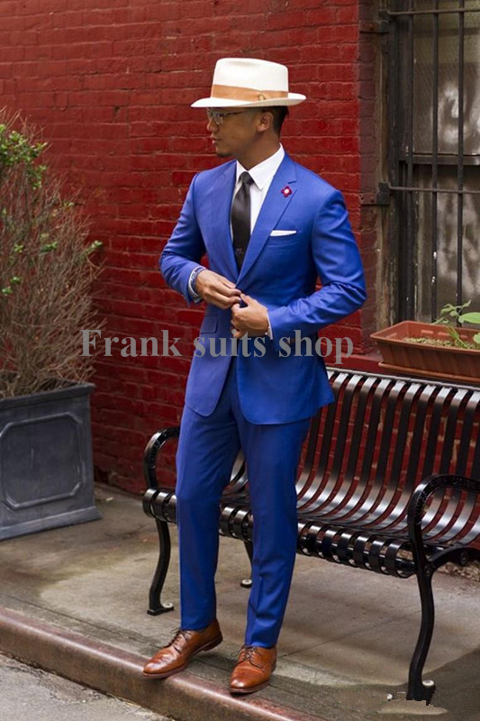 Aliexpress.com : Buy Custom made Slim Fit Groom Tuxedos Royal Blue ...