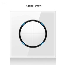 2019 New Arrival 4 Gang 1 Way Random Click On / Off Wall Light Switch With Led Indicator Crystal Glass Panel
