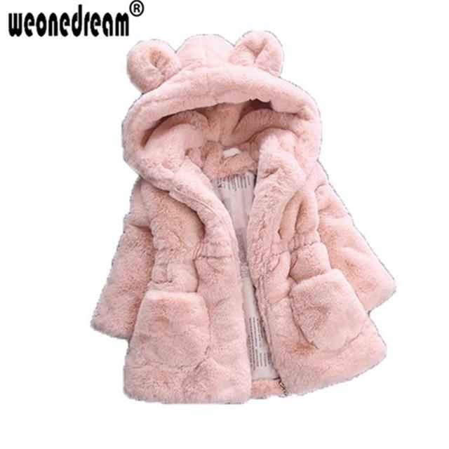 ae1b46a91650c WEONEDREAM hiver bébé fille vêtements enfants fausse fourrure polaire  manteau chaud à capuche oreilles de lapin