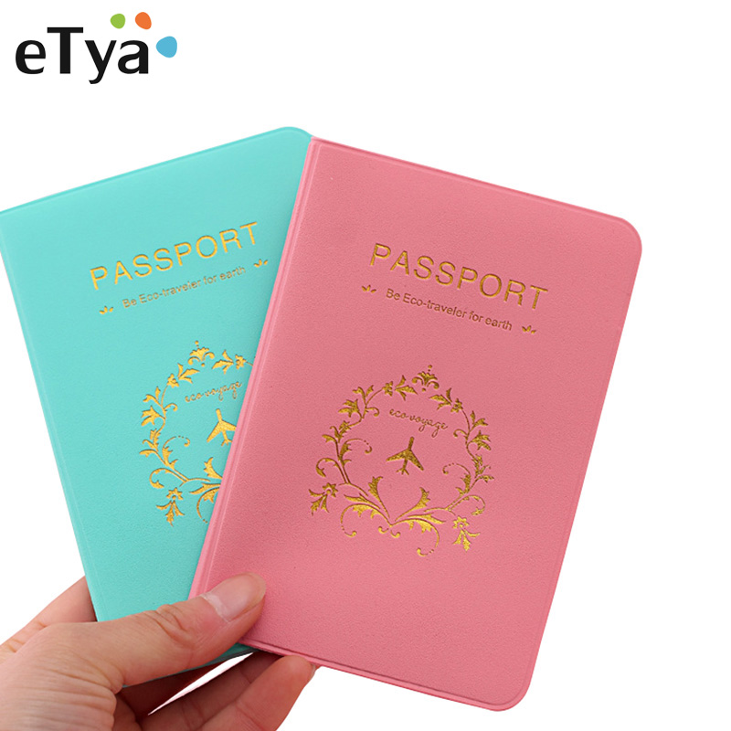ETya Fashion Travel Passport Holder Cover Men Women PU Leather ID Credit Card Ticket Document Case Holders Pouch Cover Bags Hot