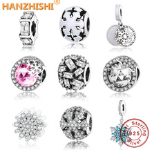 2018 New Winter Collection DIY Fit Original Pandora Charm Bracelet 925 Sterling Silver Snowflake Charms Beads Jewelry berloque цена 2017