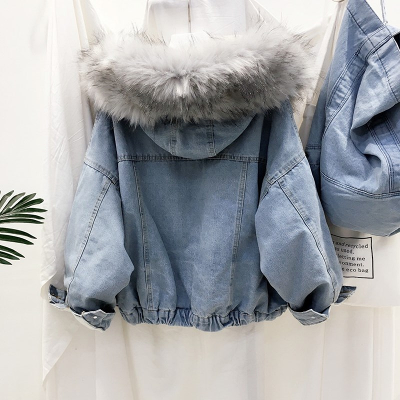 HTB1lv4Hc8Kw3KVjSZFOq6yrDVXaN velvet thick denim jacket female winter big fur collar Korean locomotive lamb coat female student short coat