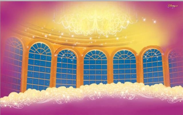 7x5ft Beauty Beast Ballroom Hall Window Chandelier Custom