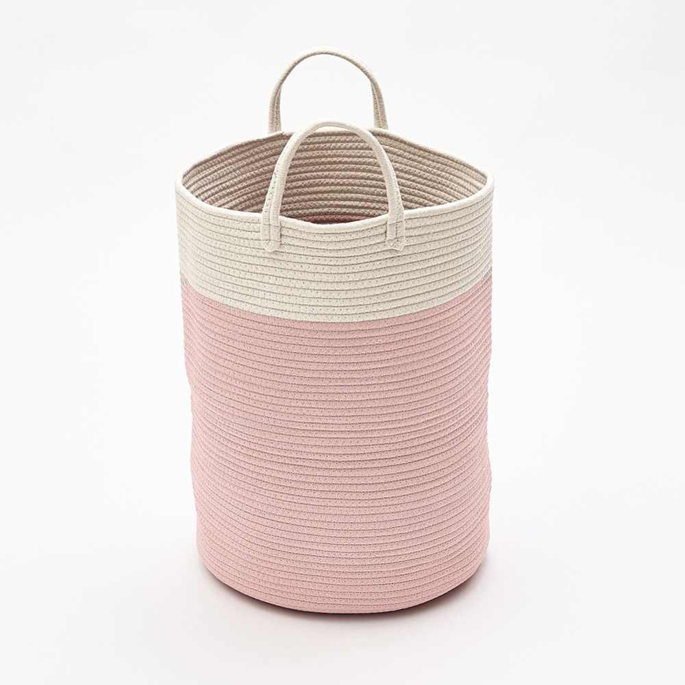 Cotton Rope Storage Basket With Handles Toys Bags Baskets For Kids Baby Laundry Nursery Hamper Home Decoration Organizer