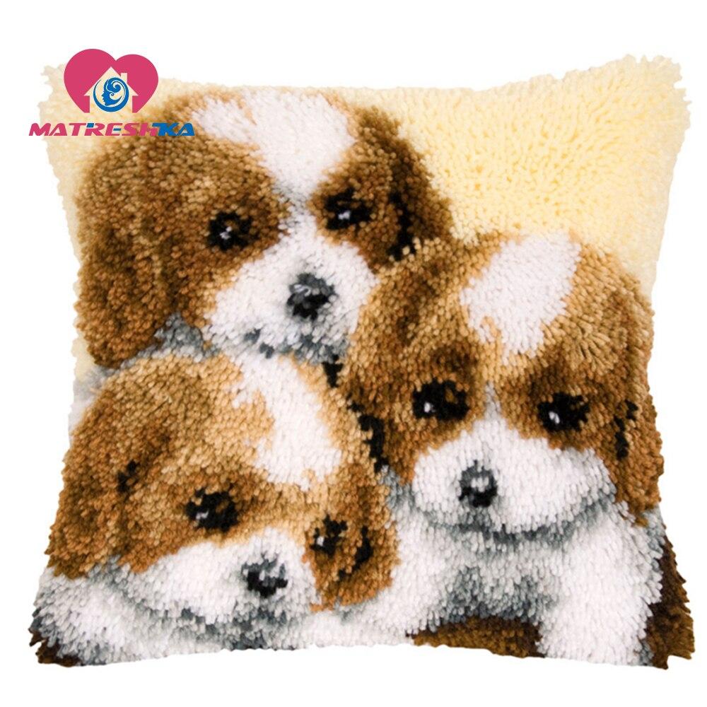 Cartoon Latch Hook Rug Canvas Embroidery Pillow Crochet Animal Kit Handmade Craft Cushion Kits DIY Home Decor Knooppakket Cat